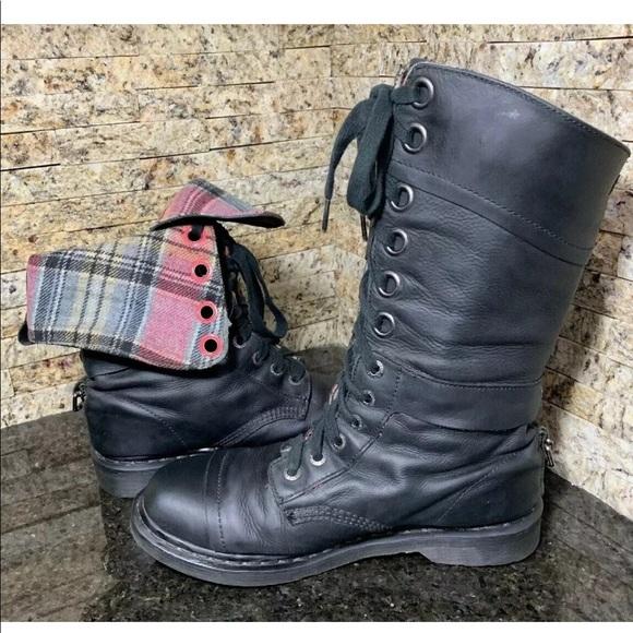 Dr. Martens Shoes - Doc Martens Triumph Combat Boots Plaid Lining